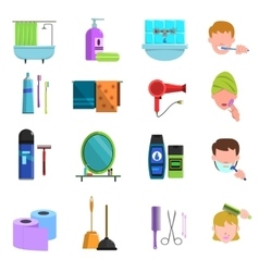 Personal care products flat icons set vector