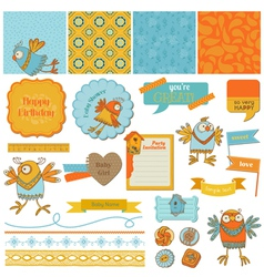 Scrapbook design elements - cute birds vector