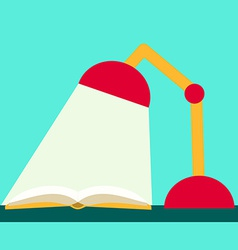 Flat design reading book book and lamp vector