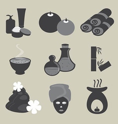 Basic spa icons set vector
