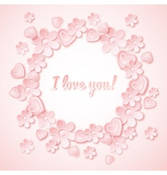 Pink background with valentine heart flowers vector