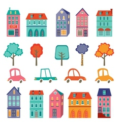 Colorful cute city collection - cars houses and vector