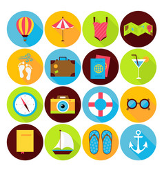 Flat summer holiday icons set vector