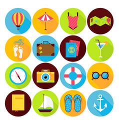 Flat summer holiday icons set vector