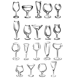 Doodle glassware and dishware sketches set vector