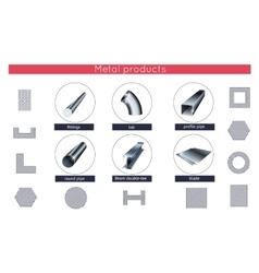 Rolled metal products icons set vector