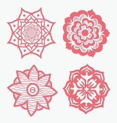 Ornamental round floral pattern with many details vector