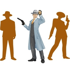Asian police chief and people silhouettes vector