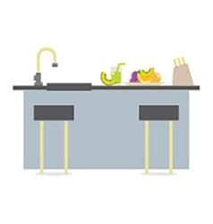 Flat design island kitchen interior design vector