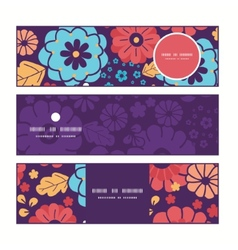 Colorful bouquet flowers horizontal banners vector