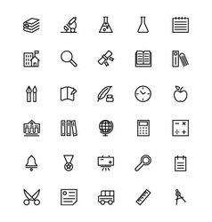 School and education line icons 4 vector