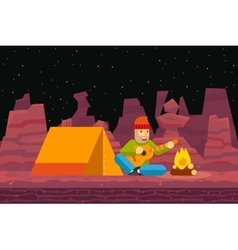 Night camp tent traveler sings and plays guitar vector