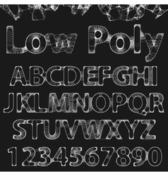 Lowpoly outline font vector