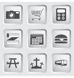 Icons on the buttons for web design set 3 vector