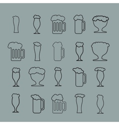 Set of twenty beer glass vector