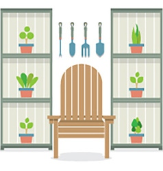 Chairs with pot plants in cabinet gardening vector