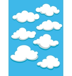 White clouds set on blue sky vector