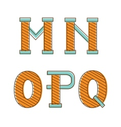 Colorful alphabet letters mno pq vector