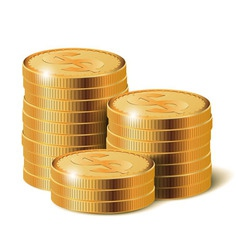 Golden coins stacks vector