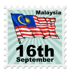 Post stamp of national day of malaysia vector