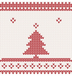 Knitted background with christmas tree vector