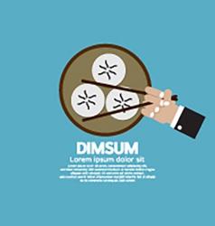 Dimsum with chopsticks vector