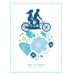 Blue and yellow flowersilhouettes couple on vector