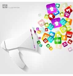 Loudspeaker icon application buttonsocial media vector