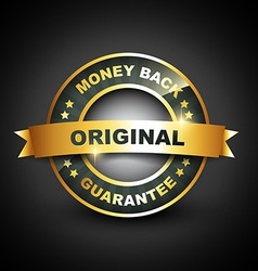 Golden mney back guarantee label vector