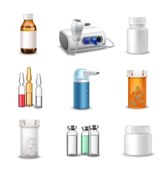 Medical bottles realistic vector