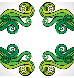 Green-yellow abstract swirl background pattern vector