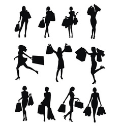 Set of woman shopping silhouettes vector