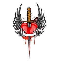 Heart and dagger vector