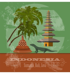 Indonesia landmarks retro styled image vector