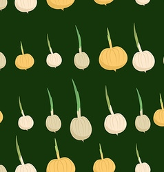 Background of the onion bulbs seamless pattern of vector
