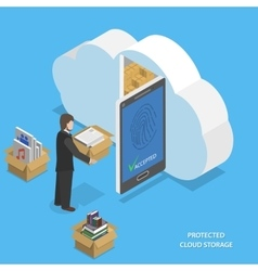 Protected cloud storage flat isometric vector