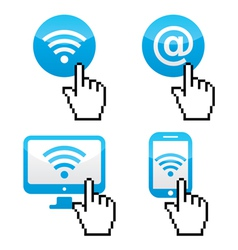 Wifi sumbol with cursor hand icons vector