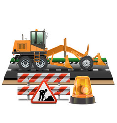 Road construction with grader vector