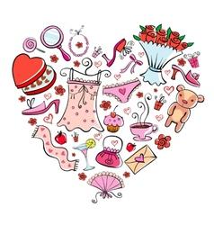 Gift ideas for girl in heart shape vector