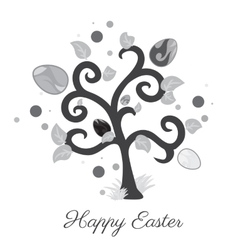 Easter tree holiday card gray color vector