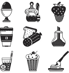 Black icons for breakfast menu vector