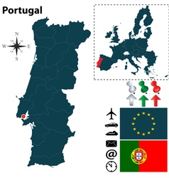 Portugal and european union map vector