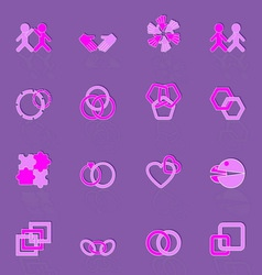 Link and relationship color icons vector