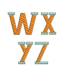Colorful alphabet letters wxyz vector