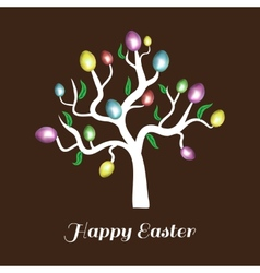 Easter tree white holiday card vector