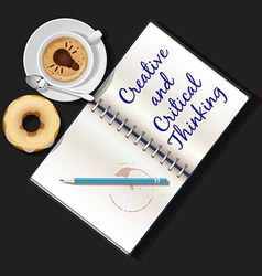 Booklet mug of cappuccino and doughnut vector