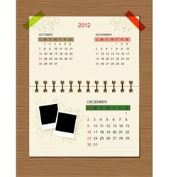 Calendar2012 december vector