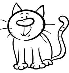 Funny cat cartoon coloring page vector