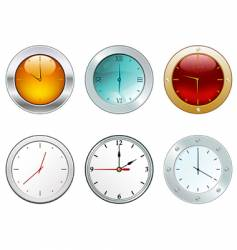 Clocks in different styles vector