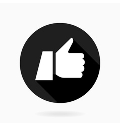 Thumb up flat icon with shadow vector